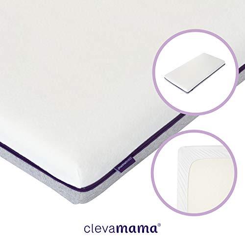 ClevaMama Colchón Transpirable Airgo para Cunas de Bebé y Bajera Impermeable, 60 x 120 cm (bundle)
