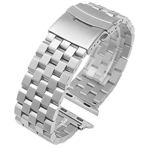Kai Tian Edelstahl Metall Armbanduhr Herren Damen Silber Watch Ersatzband für Apple Armband Watch Serie 5 4 3 2 1 Sport Uhrenarmband Silber 42mm 44mm