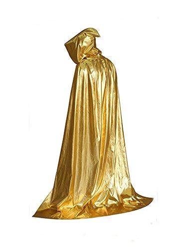 MissFox Halloween Disfraz Teatro Hoody Capote Larga Esclavina 1.5 Meters Gold