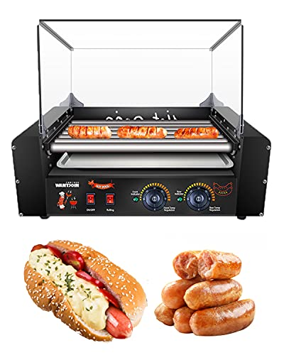 WantJoin Hot Dog Grill Machine, Commercial Electric Hot Dog 7 Roller Machine Sausage Machine with...