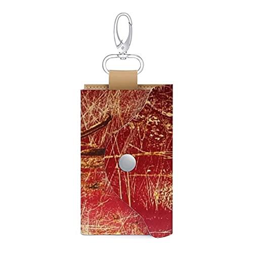 Schlüsseletui aus Leder in Rotgold und Rost-Optik für 6 Schlüssel