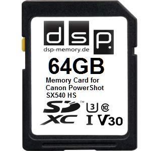 DSP Memory 64GB Professional V30 Speicherkarte für Canon PowerShot SX540 HS
