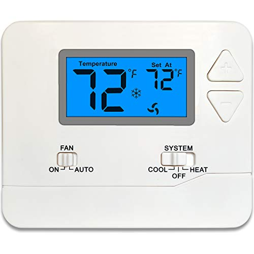 Thermostat Non-Programmable 1 Heat / 1 Cool ( Blue-Light )