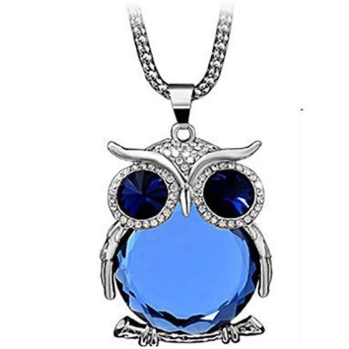 YAZILIND Collar Pendiente de Plata de la joyería Plateado Azul Diamante de imitación embutido búho Cadena para Las Mujeres