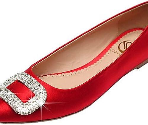 PDX damenes schuhe de raso talón plano Ballerina punta Toe cerrado Toe Flats oficina vestido casual rot champán