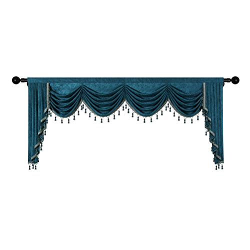Thick Chenille Window Curtains Valance for Living Room Waterfall Valance for Bedroom (Valance,Peacock Blue, W110)