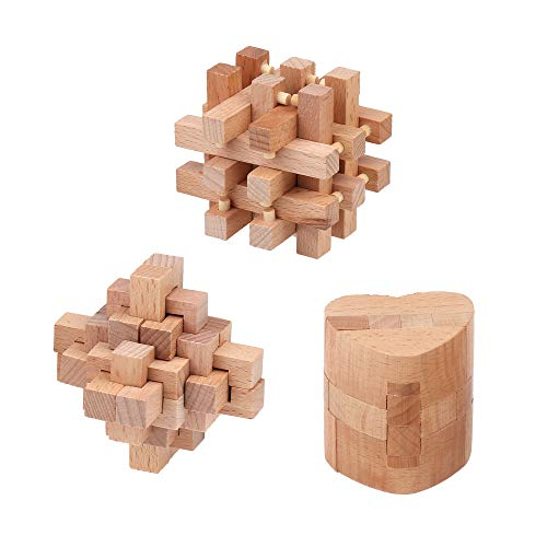 Sharp Brain Zone 3D Wooden Puzzle Games Pack of 3 | Puzzles for Kids | Educational Toys for Ages 6 and Older (Wooden Puzzle Heart Cube + Skill Builder Interlocking Game + Interlocking Brain Teasers)