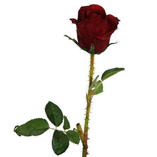 Rose, rouge/h : 40 cm en soie synthétique