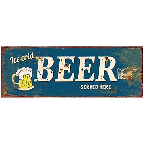 Primus Blechschild Art 36cm x 13cm Witz Küche Garage Mann Höhle Vintage (Bier serviert Here), One Size