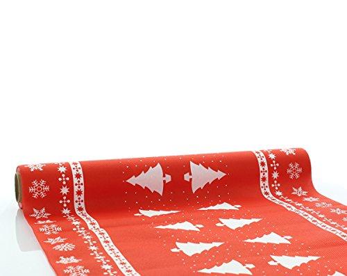 Sovie Home Tischläufer White Tree in Rot   Linclass® Airlaid   Weihnachten Christmas Einweg-Tischdecke   40cm x 4,80m