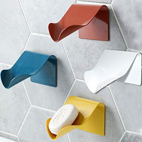 Generic Brands Jaboneras para baño, barra de drenaje simple, soporte para jabón, 2 unidades de ahorro de jabón, blanco, azul, rojo ladrillo, amarillo, Azul, 2