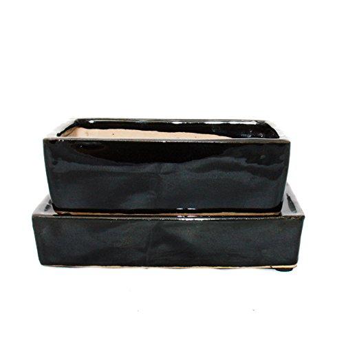 Exotenherz - Bonsai-Schale mit Wasserspeicher-Untersetzer - Gr. 3 - schwarz - rechteckig - L 16,4cm - B 11cm - H 5cm