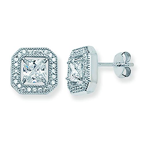 Aeon Real Sterling Silver Square Cut Cubic Zirconia Halo Stud Earrings. 8mm * 8mm 925 Hypoallergenic Silver Earrings