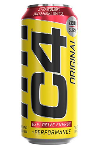 C4 Original Sugar Free Energy Drink 16oz (Pack of 12) | Strawberry Watermelon Ice | Pre Workout Performance Drink with No Artificial Colors or Dyes