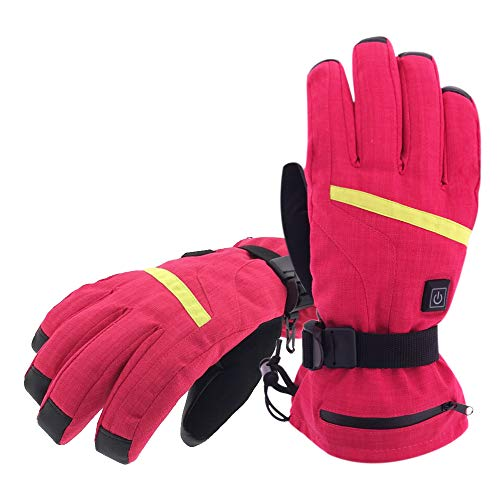 Aroma Season Rechargeable Battery Heated Gloves for Men and Women, Battery Powered Winter Gloves Winter Outdoor Activities, Hiking Gloves Relieve Raynauds Disease (RED, L-XL)
