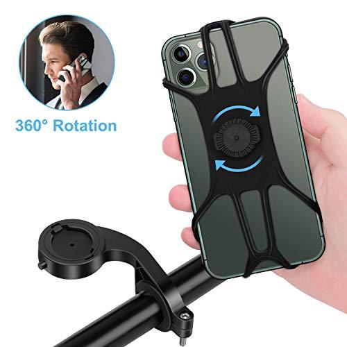 DEAROPE Soporte Movil Bici, Soporte Movil Moto Desmontable 360°Rotación Anti Vibración Porta Telefono Motocicleta Soporte para iPhone Samsung LG HTC Motorola Xiaomi Huawei GPS y Otro 4.0-6.8
