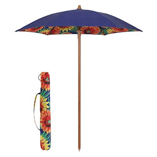 Sekey® Sonnenschirm 180 cm Strandschirm Terrassenschirm Blau Rund Sonnenschutz UPF50+