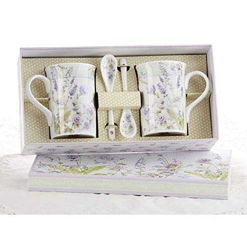 Delton Porcelain Mug/Spoon Set for 2, Lavender Rose