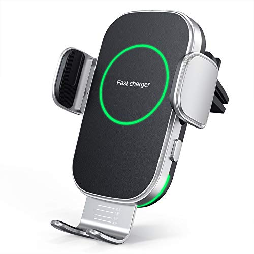 Aouevyo 車載ワイヤレス充電器 15W 急速 車載ホルダー スマホホルダー 車 自動開閉 エアコン吹き出し口用 360度回転 iPhone 12 / 12pro / 12 pro max /12 Mini / 11 / 11pro / 11 promax/XS/XR / 8 / Samsung S8 / S9 / S10 などqi機種対応 4.0-7.0インチに対応