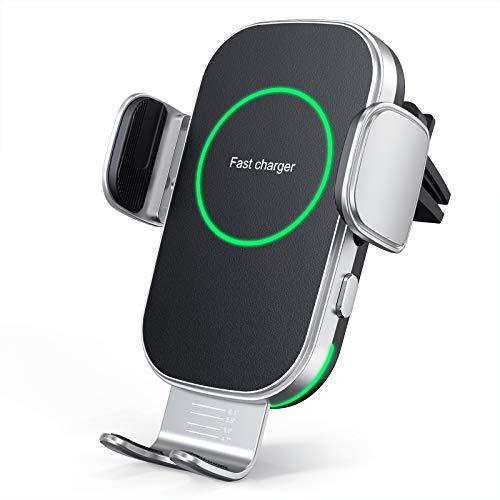 Hinyx Kabelloses Auto Ladegerät, Auto Handyhalterung Mit Ladefunktion Automatischer Induktion, Qi 15W Fast Wireless Charger Auto für iPhone 12 Pro Max/XS/11/X/8,Samsung S20/Note10,Huawei LG usw