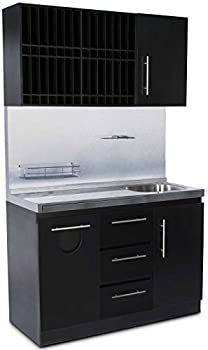 Icarus Modern Black Color Bar Shampoo Hair Station With Sink