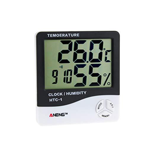 Kinshops HTC-1 Medidor de Humedad Digital electrónico LCD para Interiores Temperatura Termómetro higrómetro Reloj Despertador Estación meteorológica, Negro