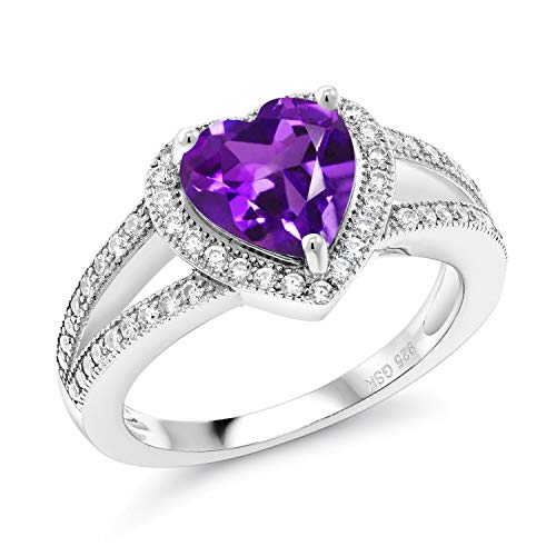 Gem Stone King 925 Sterling Silver Purple Amethyst Women Ring (2.11 Cttw, Gemstone Birthstone, Heart Shape Available 5,6,7,8,9) (Size 5)