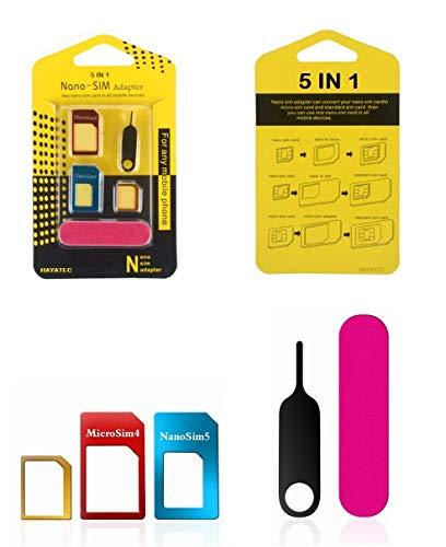 Hayatec 5 in 1 adattatore Nano SIM Card Kit convertitore a Nano/Micro/Standard Preciso Multi Sim convertitore strumento di espulsione Pin, per iPhone, Samsung, LG, Nokia, HTC, Huwaei oneplus