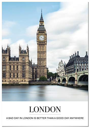 Panorama Póster Ciudad de Londres con Mensaje 50 x 70 cm - Impreso en Papel 250g - Póster Pared - Cuadros Decoración Salón - Cuadros Dormitorio - Póster Decorativos - Cuadros Modernos