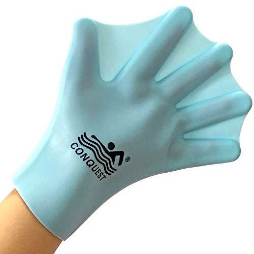 OneMoreDealDirect OMDD Silicone Webbed Swimming Gloves Aqua Fit Swim Training Gloves Web Gloves for Swimming,Closed Full Finger Webbed Water Gloves for Unisex Adult,2PCS (Blue)