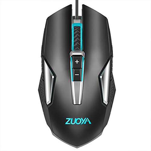 ZUOYA Gaming Mouse Backlit Computer Wired Mice Ergonomic up to 4800 DPI & 8 Button for Laptop PC Gamer Computer Desktop(MMR8 Black)