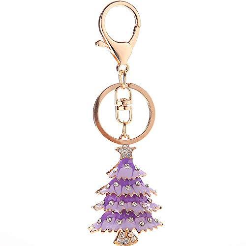 KDOAE Llaveros Creativa de Navidad Árbol de Accesorios for automóviles Pendiente dominante del Anillo Accesorios de Decoración,Hombre y Mujer (Color : Purple)