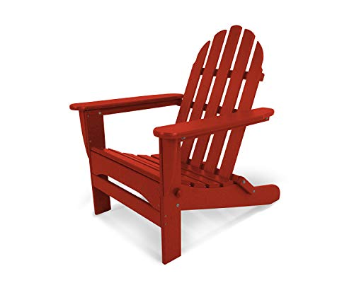 POLYWOOD AD5030CR Classic Folding Adirondack Chair,Crimson Red