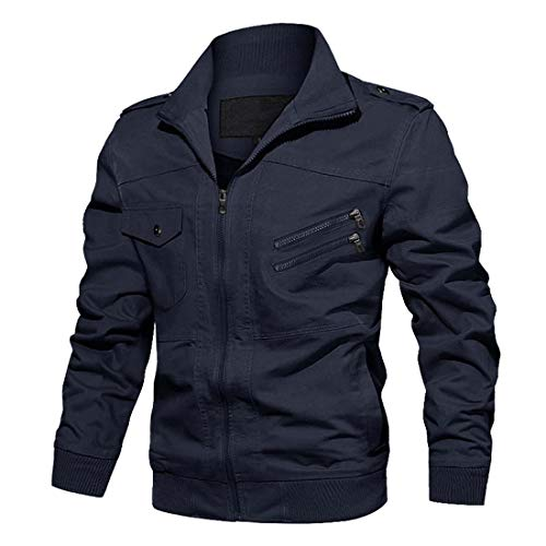 CRYSULLY Men's Fall Bomber Casual Long Sleeve Full Zip Stylish Jackets Coat with Shoulder Straps Navy Blue