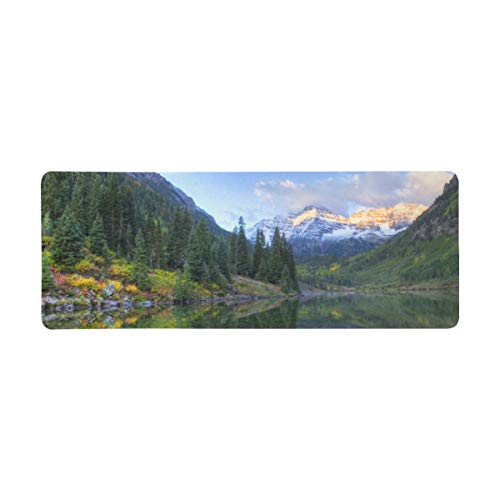 InterestPrint Soft Extra Extended Large Gaming Mouse Pad with Stitched Edges, Desk Pad Keyboard Mat, 31.5 x 12In - Moutain and Lake Landscape Reflection of Snow Capped Maroon Bells