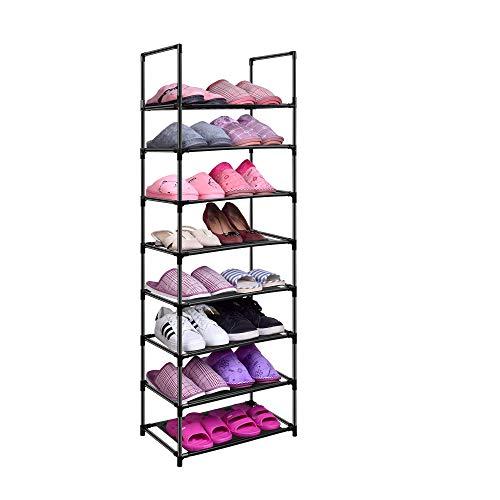 Easyhouse Zapatero estable de metal de 8 animales, para entrada armario, tienda, 16 – 20 pares de zapatos, estante multiusos para ahorrar espacio de almacenamiento