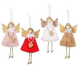 Christbaumanhänger 4Pcs Engel Puppe Anhänger Weihnachtsbaum hängenden Dekorationen Anhänger, Weihnachtsbaum Elfen Handwerk für Weihnachts Hochzeit Neujahr Festival geschenk Weihnachtsfeier Home Decor