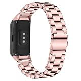 Compatible with Samsung Galaxy Fit SM-R370 Bands, Galaxy Fit Watch Band Solid Stainless Steel Metal Replacement Bracelet Strap for Galaxy Fit SM-R370 Smart Watch, Adjustable (Rosepink)