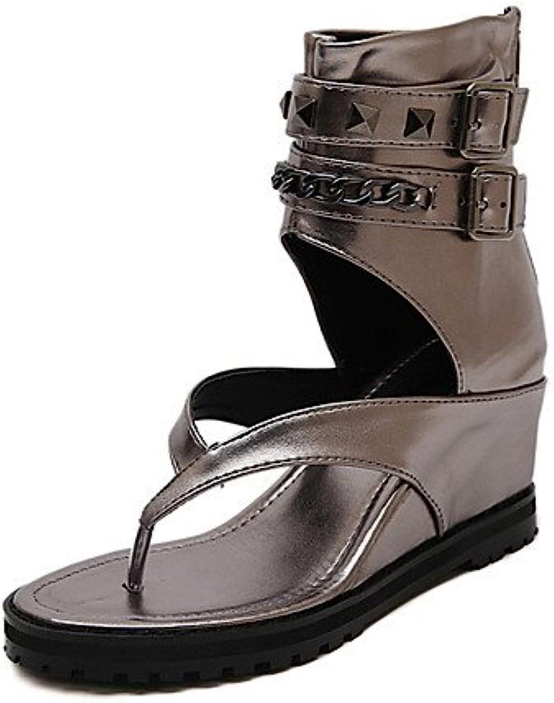 MEIREN Women's shoes Wedge Heel Wedges Sandals Casual Black Silver