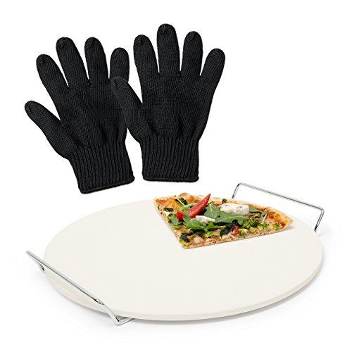 Relaxdays 3 teiliges Pizza-Set, Pizzastein aus Cordierit, für Backofen und Grill, 2 Grillhandschuhe, feuerfester Hitzeschutz, schwarz