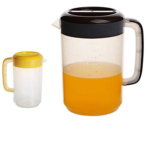Tetera de plástico transparente de 5000 ml y tetera de plástico de 2500 ml. Las teteras de plástico se pueden usar para picnics y fiestas en interiores y exteriores,Black5l+yellow2.5l