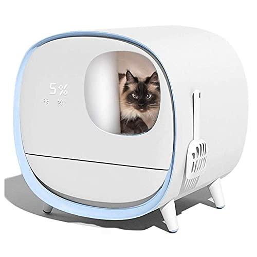 AMAZOM Caja De Arena para Gatos con Autolimpieza Automática, Limpiador Eléctrico Completamente Cerrado, Inodoro Inteligente para Gatos con Desodorante, para Peso Y Limpieza De Gatos, 3 Colores,Azul