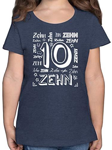 Kindergeburtstag Geschenk - 10. Geburtstag Zahlen - 140 (9/11 Jahre) - Dunkelblau Meliert - Geburtstag 10 Jahre Maedchen - F131K - Mädchen Kinder T-Shirt