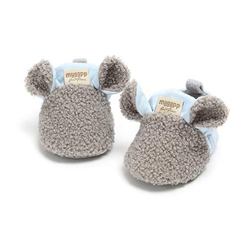 IHGWE - Zapatillas de algodón para niña, para invierno, de algodón, cálidas, para invierno, para niños, antideslizantes, para casa gris 6-12 Meses