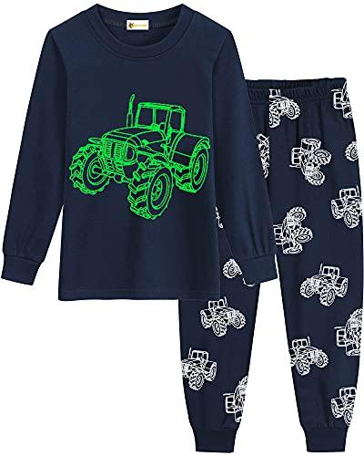 MOLYHUA Schlafanzug Jungen Glow in The Dark Kinder Dinosaurier Schlafanzüge für Mädchen Bagger Traktor Rakete Baumwolle Langarm Pyjama 92 98 104 110 116 122,05 Traktor (Dunkelblau),104
