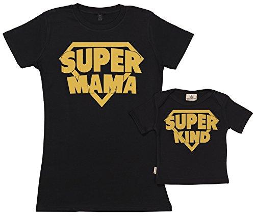 Spoilt Rotten SR - Geschenkpackung Baby Geschenkset - Super Mama & Super Kind Set zur Geburt Mutter T-Shirt und Baby T-Shirt in Geschenkbox - Mutter Baby Geschenkset in Geschenkbox, Schwarz, M & 11-12 Jahre