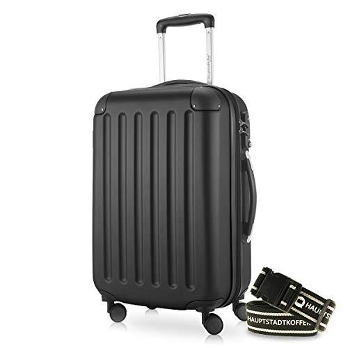 Hauptstadtkoffer - Spree Handgepäck Kabinentrolley Bordgepäck Hartschalen-Koffer, sehr leicht, TSA, 55 cm, 42L, Schwarz +Gepäckgurt