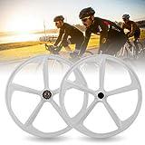 LYNICESHOP Bicycle Wheel 700C Fixed Gear Wheels, 5 Spoke Rim Single Speed Front Rear Fixie Bicycle Wheels Track Wheel Clincher Type Bike Wheel 17 Teeth Gear Bike(Style1; White (Front+Rear Wheels))