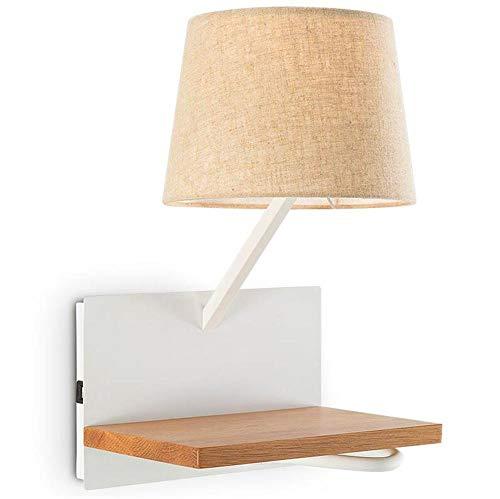 HJRBM Lámpara de Pared para Sala de Estar, Dormitorio, mesita de Noche, lámpara de Lectura, Estante de Madera Maciza con Interfaz de Carga USB, diseño Moderno, Creativo, lámpara de Pared de Madera