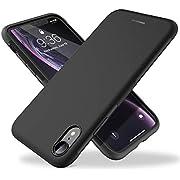 UNBREAKcable Coque de Protection pour iPhone XR Silicone Liquide [ Antichoc et Antidérapante ] Case en givré pour iPhone XR, Revêtement Anti-Empreintes Digitales - Noir Mat